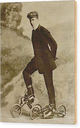 Roller Skating Wood Print by Padre Art