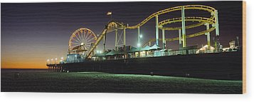 Rollercoaster And Ferris Wheel At Dusk Wood Print by Axiom Photographic