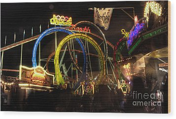 Rollercoaster At The Dom Wood Print by Rob Hawkins