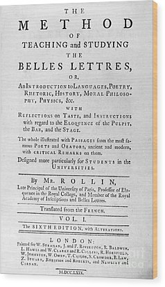 Rollin: Title Page, 1769 Wood Print by Granger