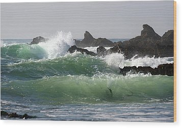 Wood Print featuring the photograph Rolling Green Waves by Michael Rock