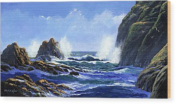 Rolling Surf Wood Print by Frank Wilson