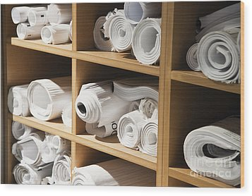 Rolls Of Blueprints In Cubbyholes Wood Print by Jetta Productions, Inc