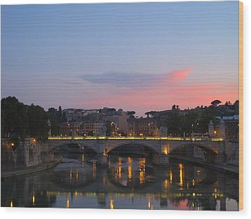 Roma Sunset Wood Print by Tia Anderson-Esguerra