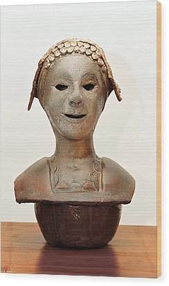 Roman Mask Torso Lady With Head Cover Face Eyes Large Nose Mouth Shoulders Wood Print by Rachel Hershkovitz
