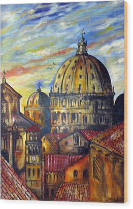 Wood Print featuring the painting Roman Roofs by Roberto Gagliardi