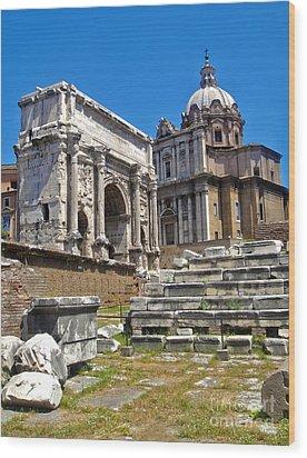 Roman Ruins - Roman Forum Wood Print by Gregory Dyer