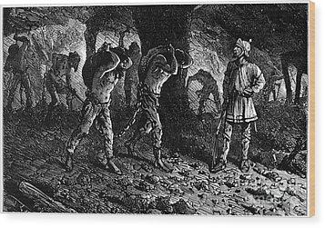 Roman Slavery: Coal Mine Wood Print by Granger