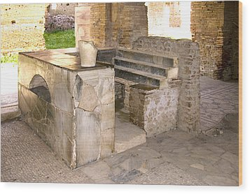 Roman Tavern, Ostia Antica Wood Print by Sheila Terry