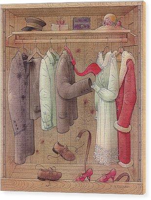 Romance In The Cupboard Wood Print by Kestutis Kasparavicius