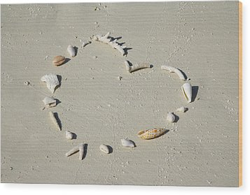 Romantic Message On Beach In Coral And Shells. Wood Print by Rosemary Calvert
