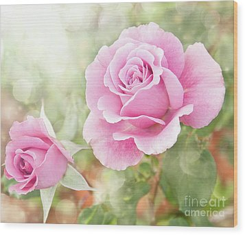 Romantic Roses In Pink Wood Print