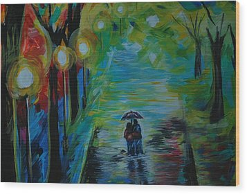 Wood Print featuring the painting Romantic Stroll Series 1 by Leslie Allen