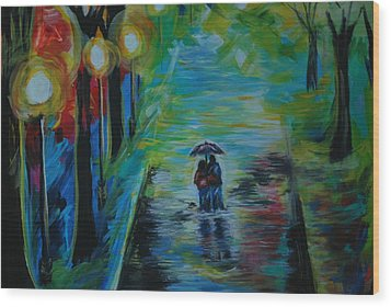Wood Print featuring the painting Romantic Stroll Series II by Leslie Allen