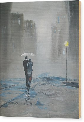 Romantic Walk In The Rain Wood Print by Raymond Doward