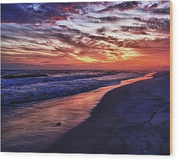 Romar Beach Sunset Wood Print