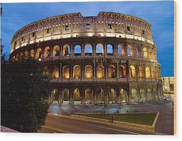 Rome Colosseum Dusk Wood Print by Axiom Photographic