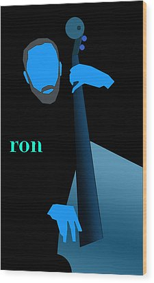 Ron Carter Blue Wood Print by Victor Bailey