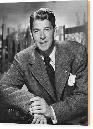 Ronald Reagan, From Shes Working Her Wood Print by Everett