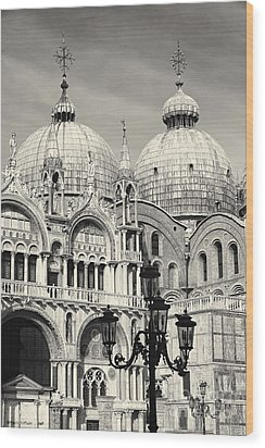 Roof And Facade Of St Mark Basilica  Wood Print by George Oze