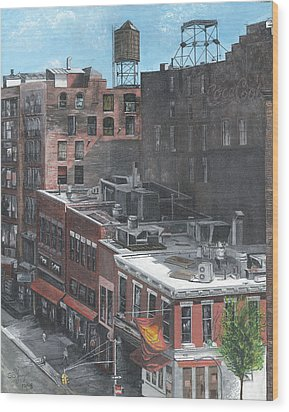 Wood Print featuring the painting Roof Tops Ny Ny by Stuart B Yaeger
