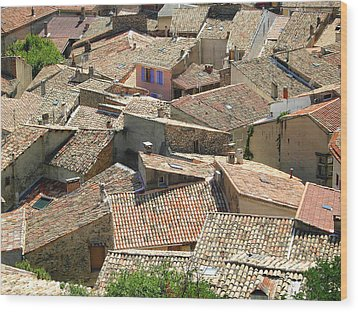 Roofs Of Provence Wood Print by Bernard Gaillot