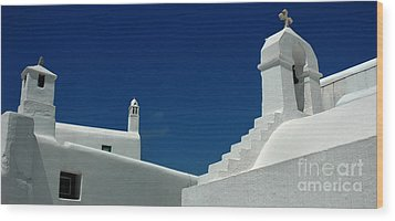 Rooftops Of Mykonos Wood Print by Vivian Christopher