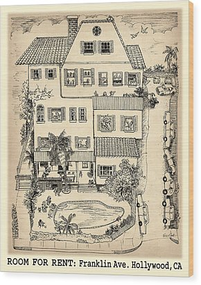 Wood Print featuring the drawing Room For Rent by Evie Cook