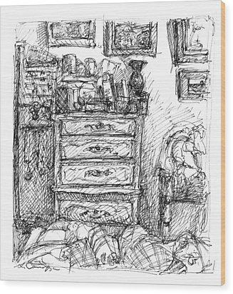 Room Study Wood Print by Elizabeth Carrozza