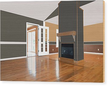 Room With Fireplace Wood Print by Susan Leggett