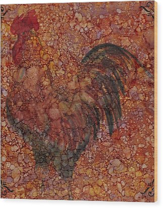 Rooster 4 Large Wood Print by Rosie Phillips