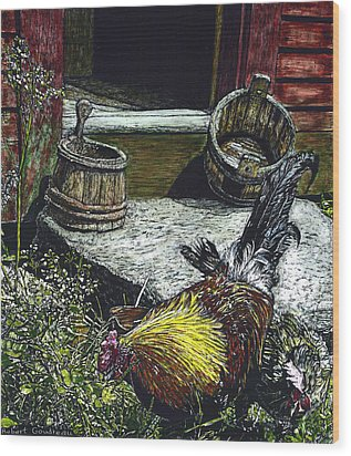 Rooster And A Hen Wood Print by Robert Goudreau