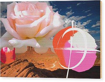 Rosa Desert Crucio Wood Print by Geronimo
