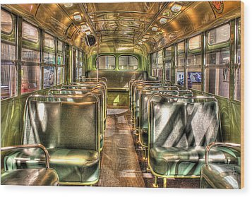 Rosa Parks Bus Inside Dearborn Mi Wood Print by Nicholas  Grunas