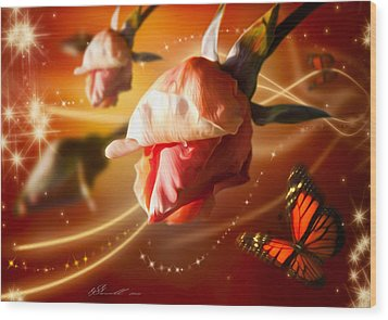 Rose And Butterfly Wood Print by Svetlana Sewell