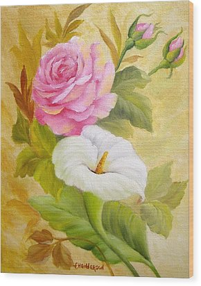 Rose And Calla Lily Wood Print