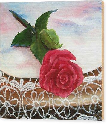 Rose And Lace Wood Print by Joni McPherson