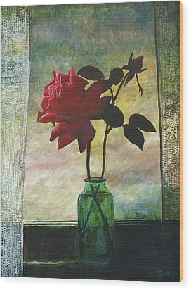 Rose And Rosebud Wood Print