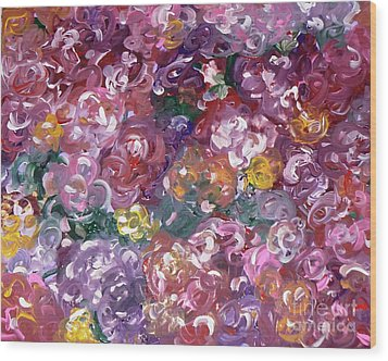 Wood Print featuring the painting Rose Festival by Alys Caviness-Gober