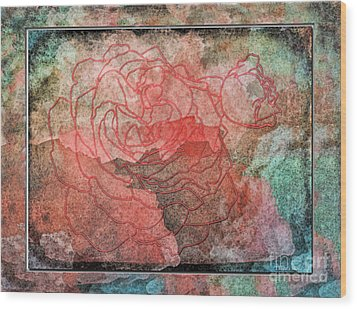 Rose Outline Abstract Wood Print by Debbie Portwood