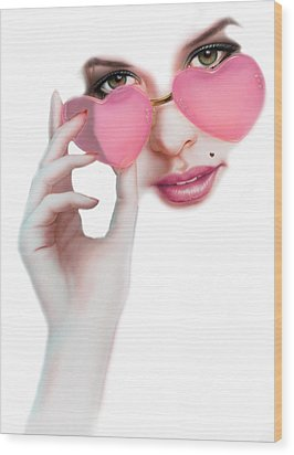 Rose Tinted Love Variant 1 Wood Print by Andrew Farley