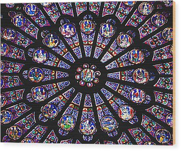 Rose Window In The Notre Dame Cathedral Wood Print by Axiom Photographic