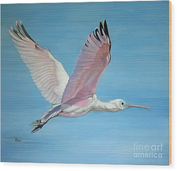 Wood Print featuring the painting Roseate Spoonbill In Full Flight by Jimmie Bartlett