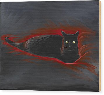 Rosemary Our Cat Wood Print by David Junod