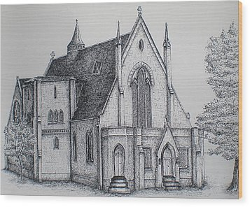Wood Print featuring the drawing Rosemount Parish Church by Sheep McTavish
