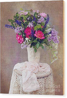 Wood Print featuring the photograph Roses And Lilac  by Cheryl Davis