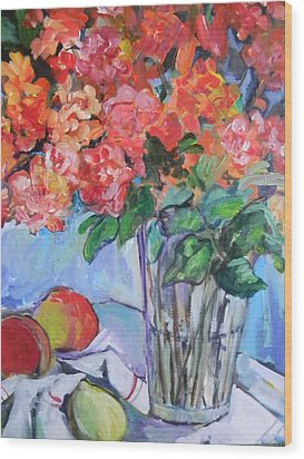 Roses And Peaches Wood Print by Carol Mangano