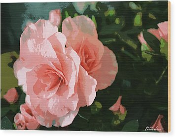 Roses Are Pink Wood Print by Fern Korn