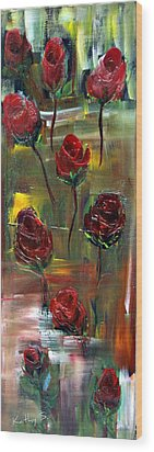 Wood Print featuring the painting Roses Free by Kathy Sheeran