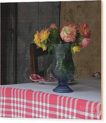 Wood Print featuring the photograph Roses In Blue Glass Vase by Lainie Wrightson